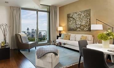Floor-to-ceiling windows at luxury apartments in Atlanta, Georgia