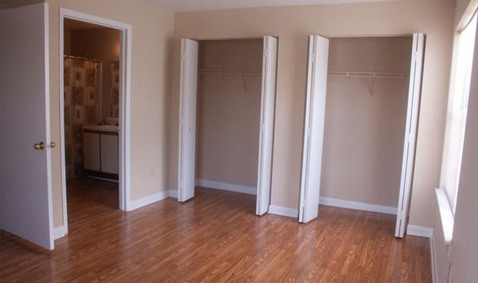 Interior view of the bedroom at our Tucker apartments