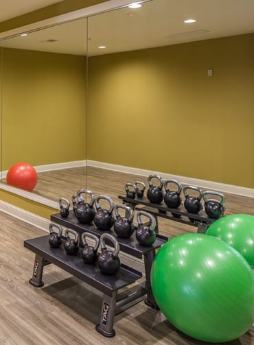 Free Weights at the Fitness Center Ardmore Apartments