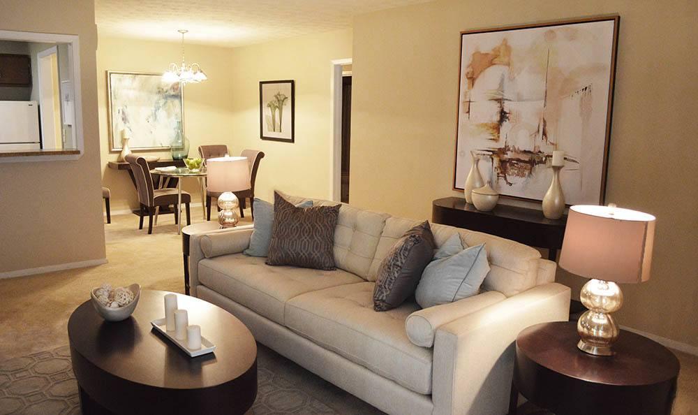Apartment model living room in Clarkston