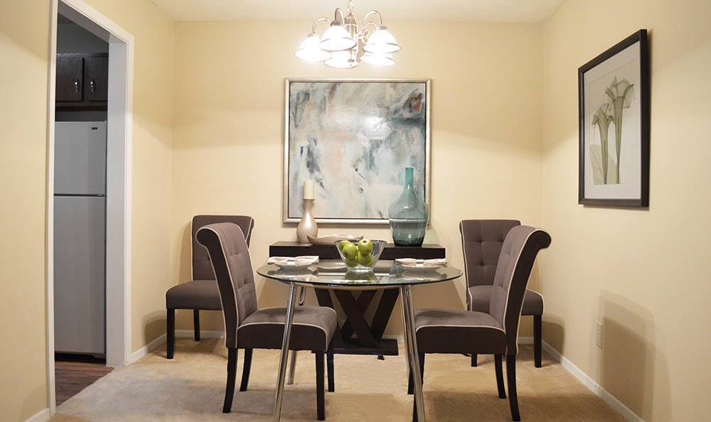 Dining area in model Clarkston apartment
