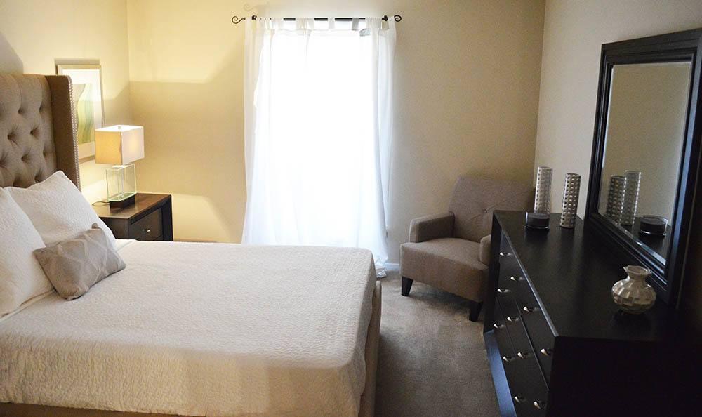 Model apartment bedroom at Clarkston community