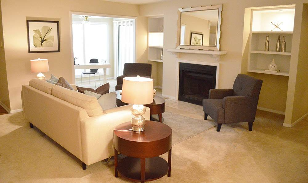 Model living room apartment in Clarkston