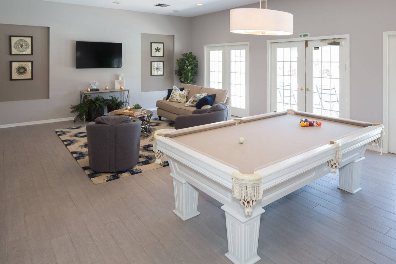 Pool table room at apartments in Ponte Vedra Beach, Florida