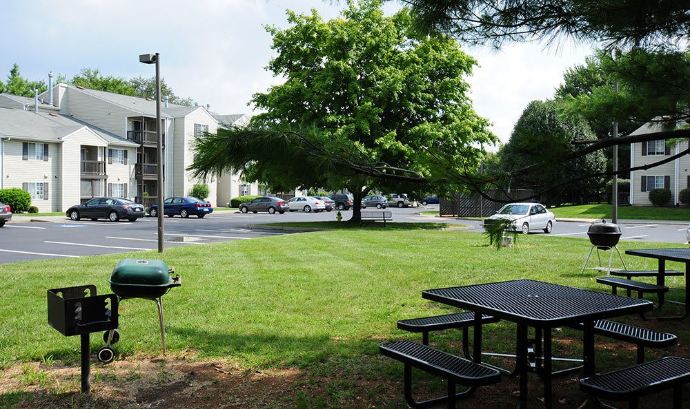 The BBQ area at our apartments in Winchester VA