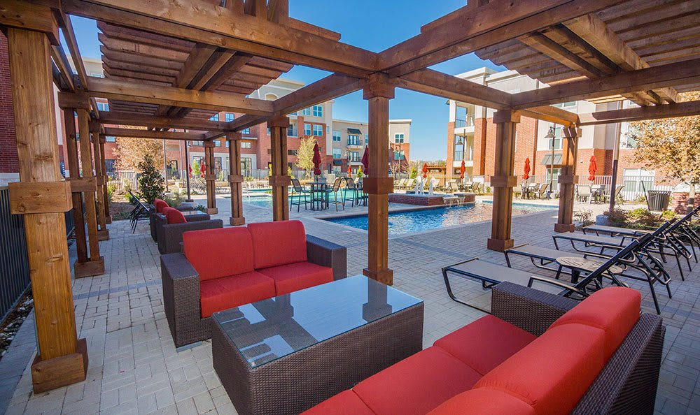 The relaxing poolside lounge at our apartments in Plano, Texas.