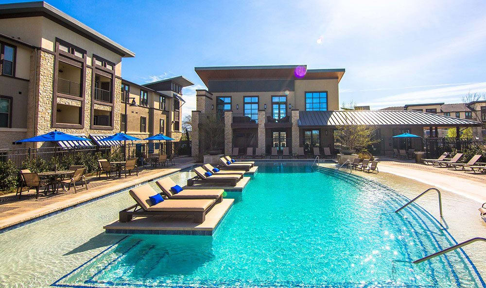 Swimming pool lounge at our Allen apartments