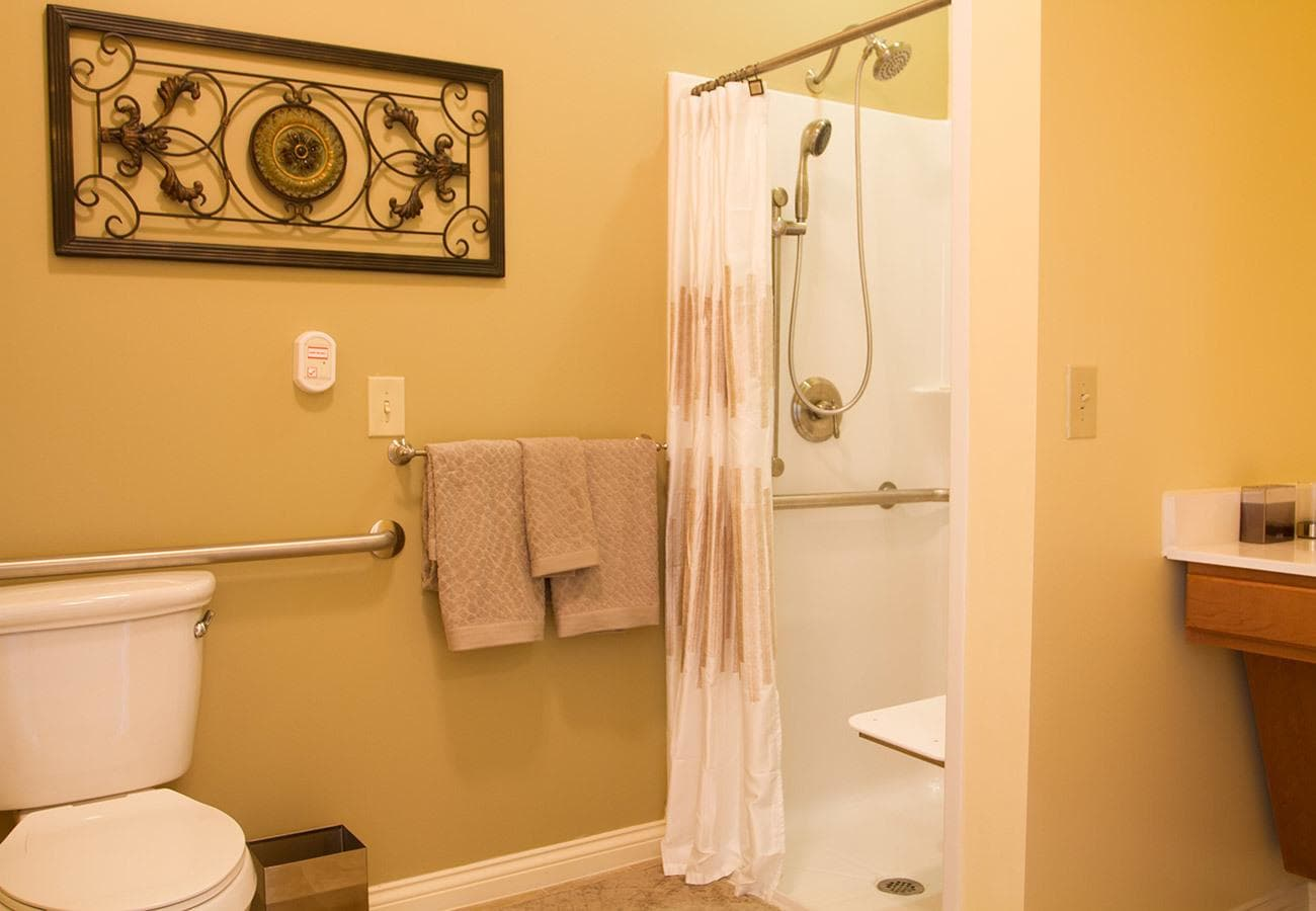 Clean bathrooms at Randall Residence senior living.