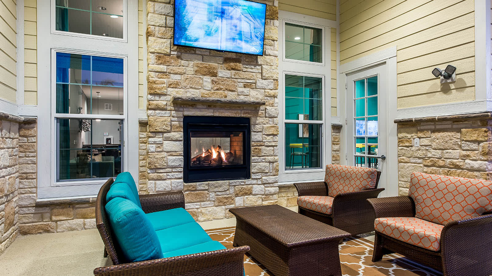 Clubhouse Fireplace at Longitude 81 in Estero, FL