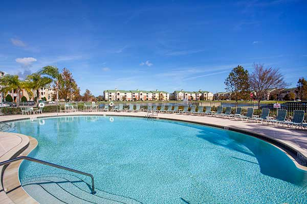 The resort styled pool glistens in the Florida sun at The Haven at West Melbourne.