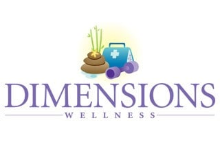Dimensions wellness logo for the senior living community in Rainbow City