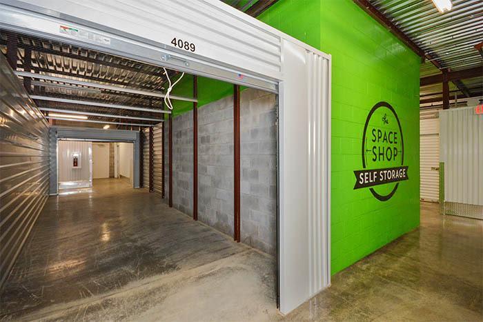 inside storage unit at Space Shop Self Storage in Marietta