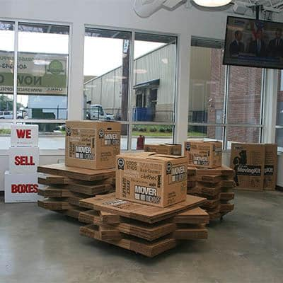 Moving boxes at Space Shop Self Storage