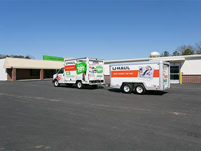 Truck and trailer rentals available at Space Shop Self Storage