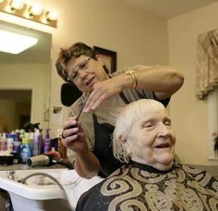 senior living resident and nurse in Long Grove