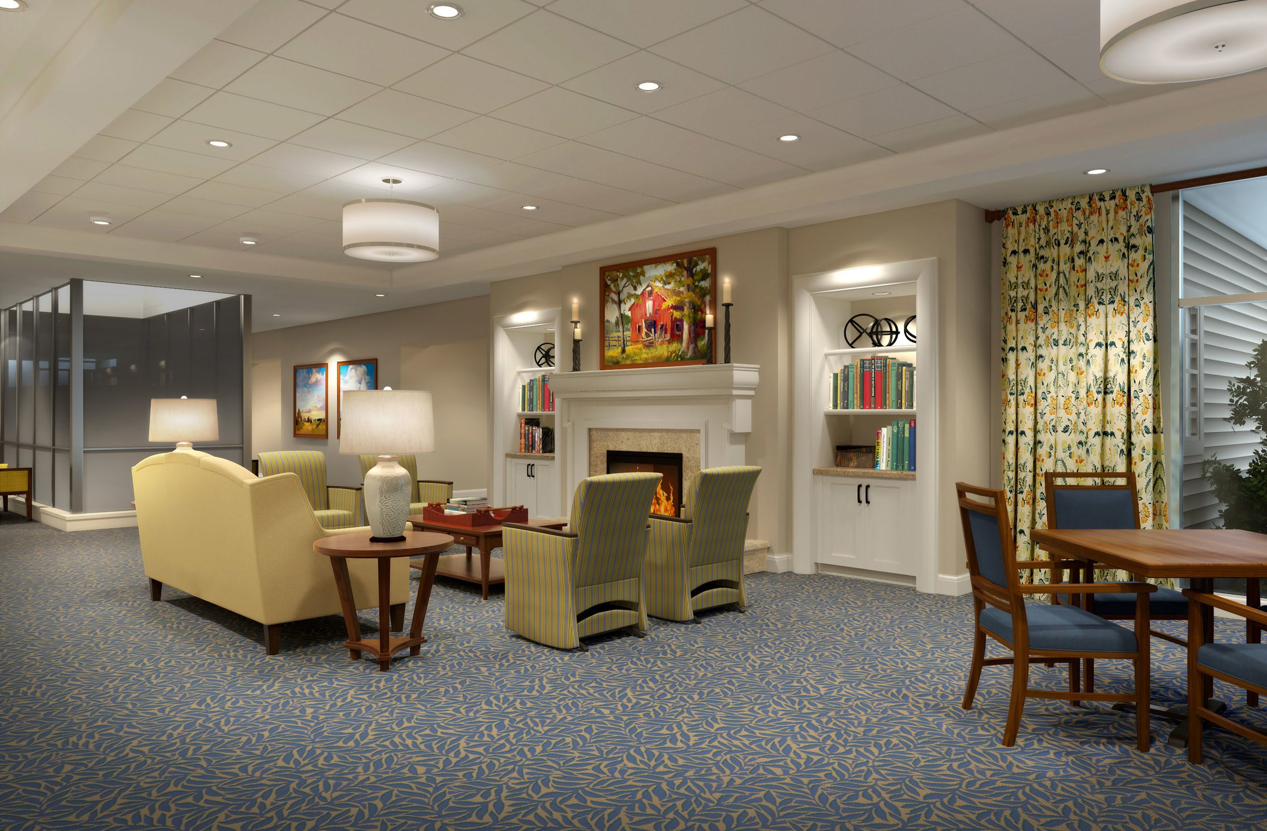 Community living room at HarborChase of Long Grove