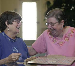 senior living residents playing games in Long Grove