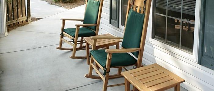 rocking chairs at Aiken retirement community