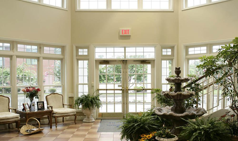 Our gorgeous entryway makes every entrance into our senior living facility in Huntsville grand