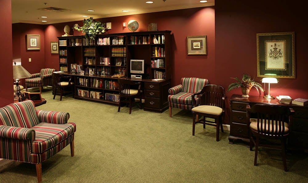 Our Huntsville senior living library exudes a relaxing atmosphere