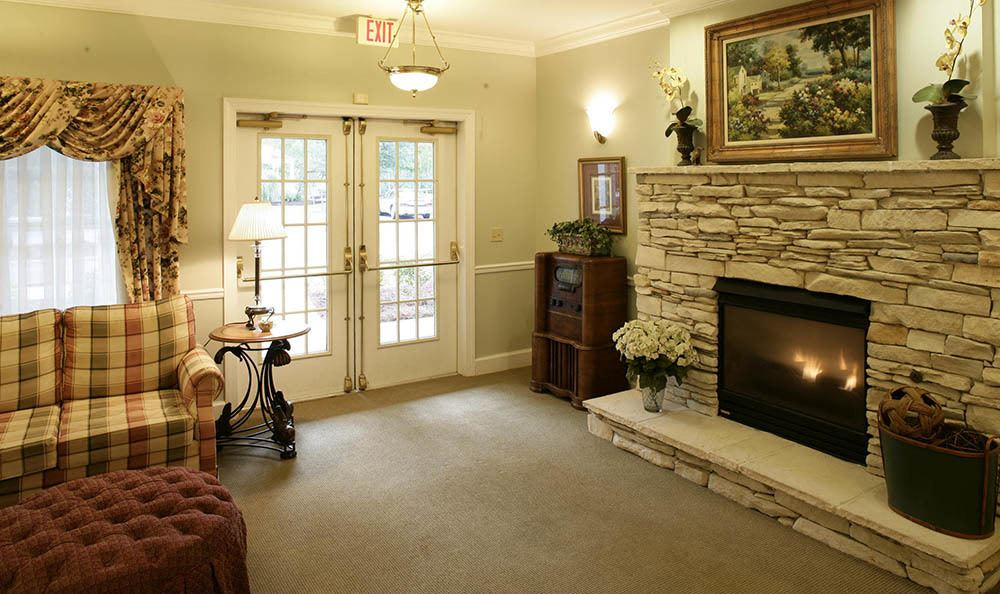 Relax by the fire our in Tallahassee senior living facility