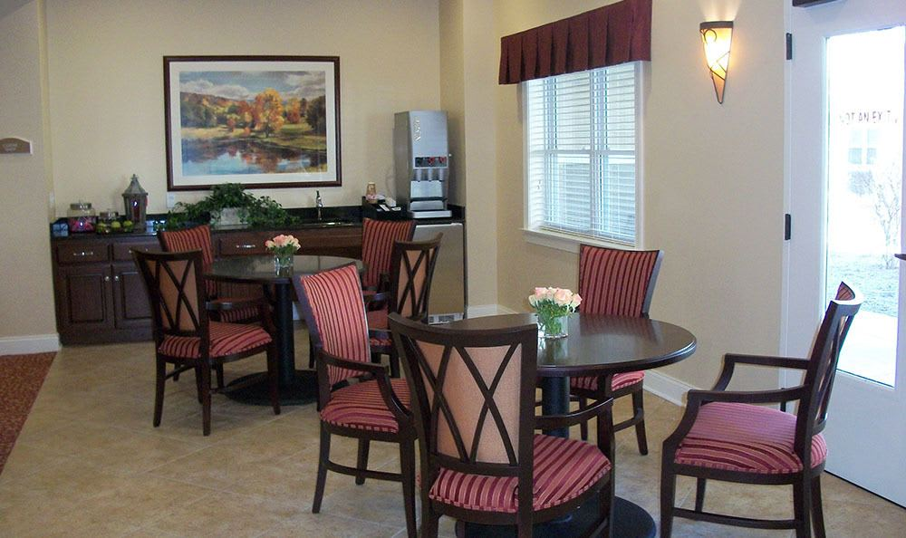 Grab some coffee and a chat at our Plainfield senior living facility