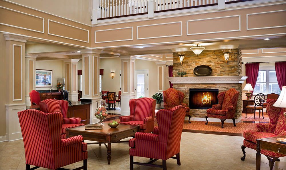 Relax in our Plainfield senior living facility foyer