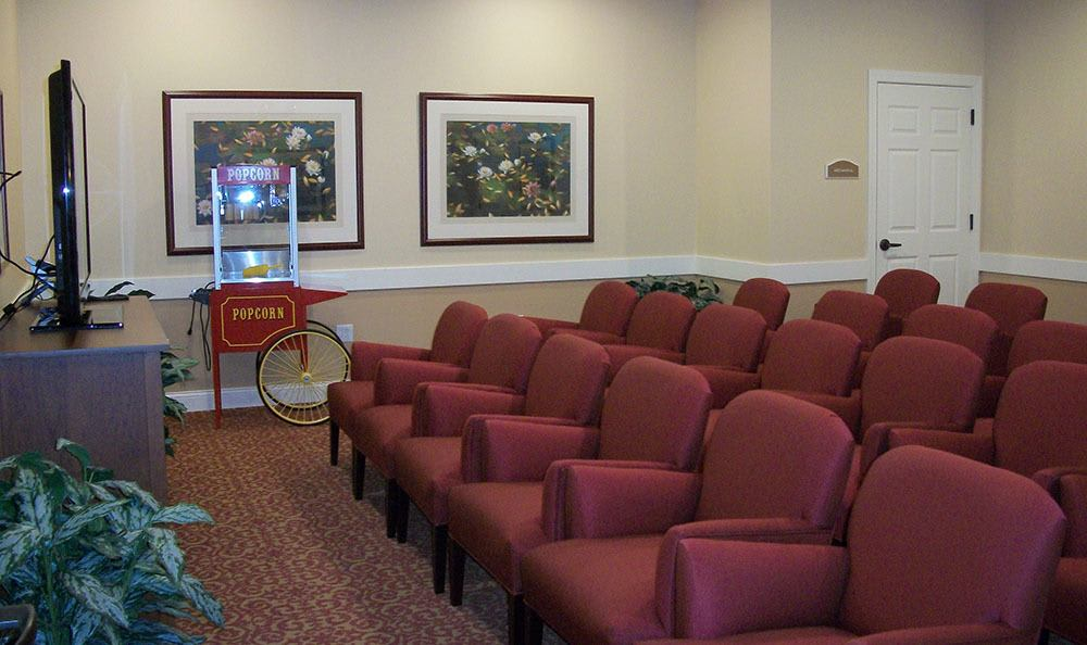 Catch your favorite flick at our Plainfield senior living facility theater