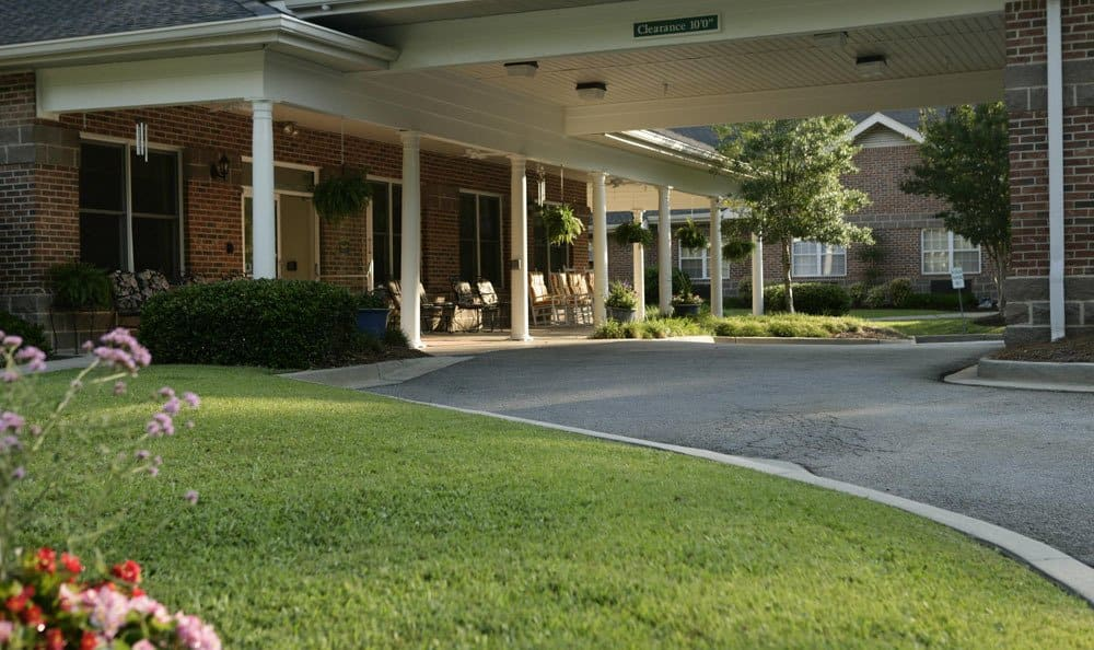 Beautiful landscaping surrounds our Columbia senior living facility