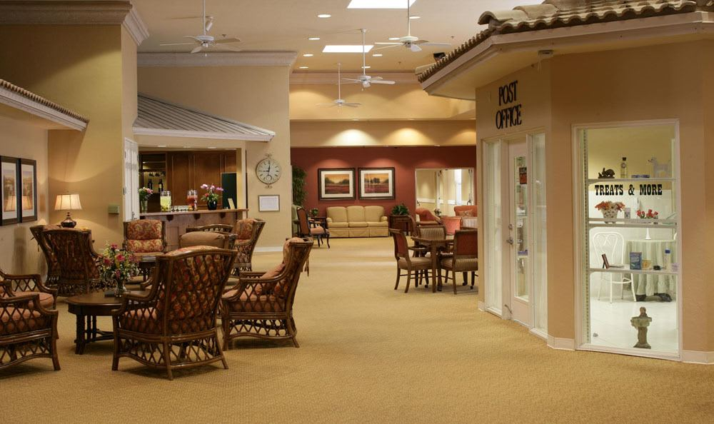 Our spacious lobby to fit friends and family in senior living facility in Coral Springs