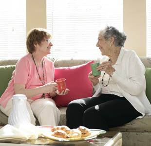 senior living residents chat in Naples