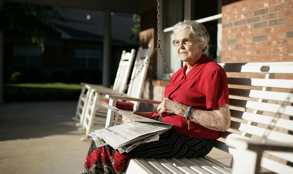 Relax outside at our senior living facility in Rock Hill
