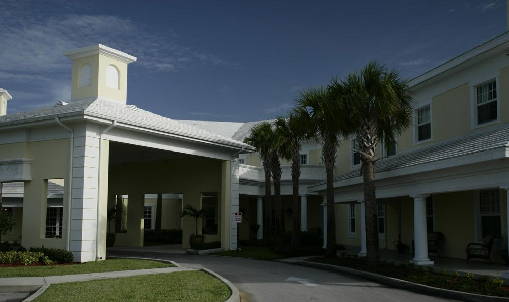 Entrance to our senior living facility in Vero Beach