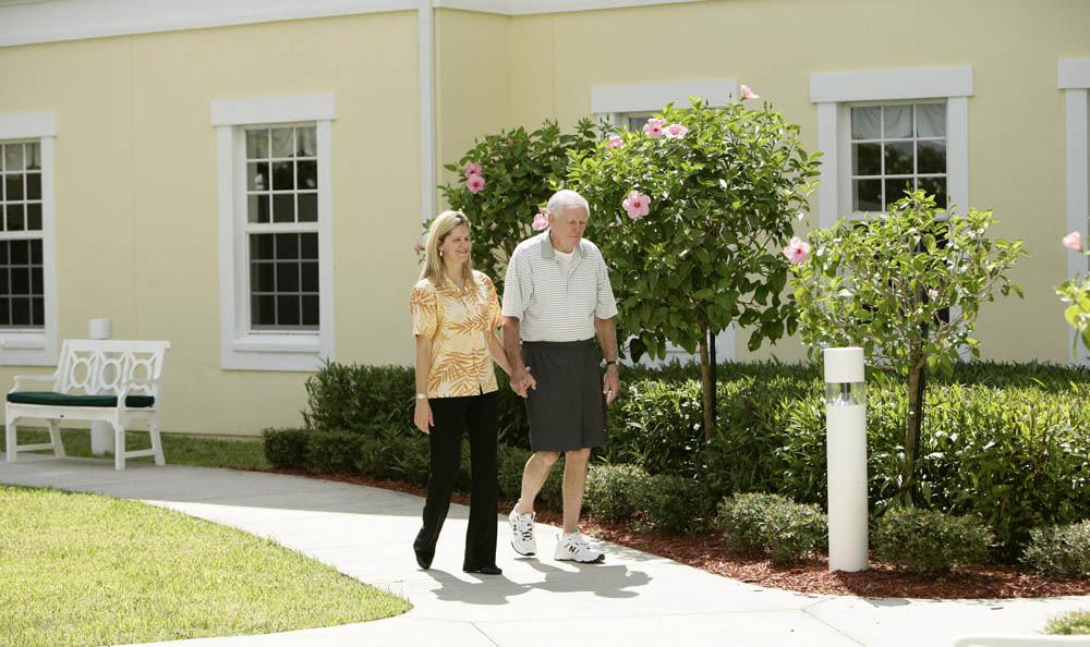 Enjoy our beautiful landscaping as you travel around our senior living facility in Vero Beach
