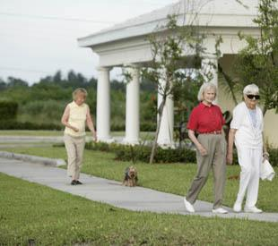 senior living residents enjoying a stroll in McKinney