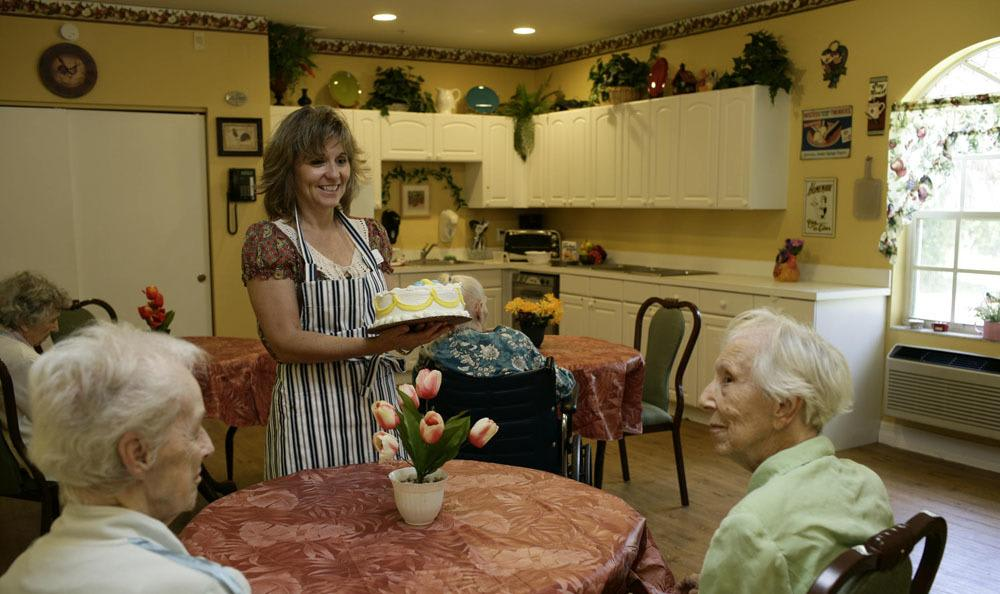 Enjoy a fancy desert at our Naples senior living facility