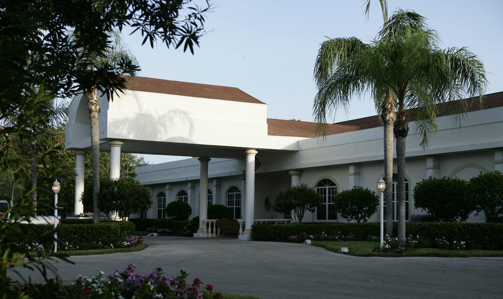 Beautiful landscaping surrounds our Naples senior living facility