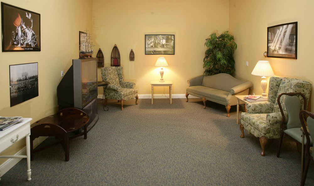 Our living rooms at our senior living facility in Naples