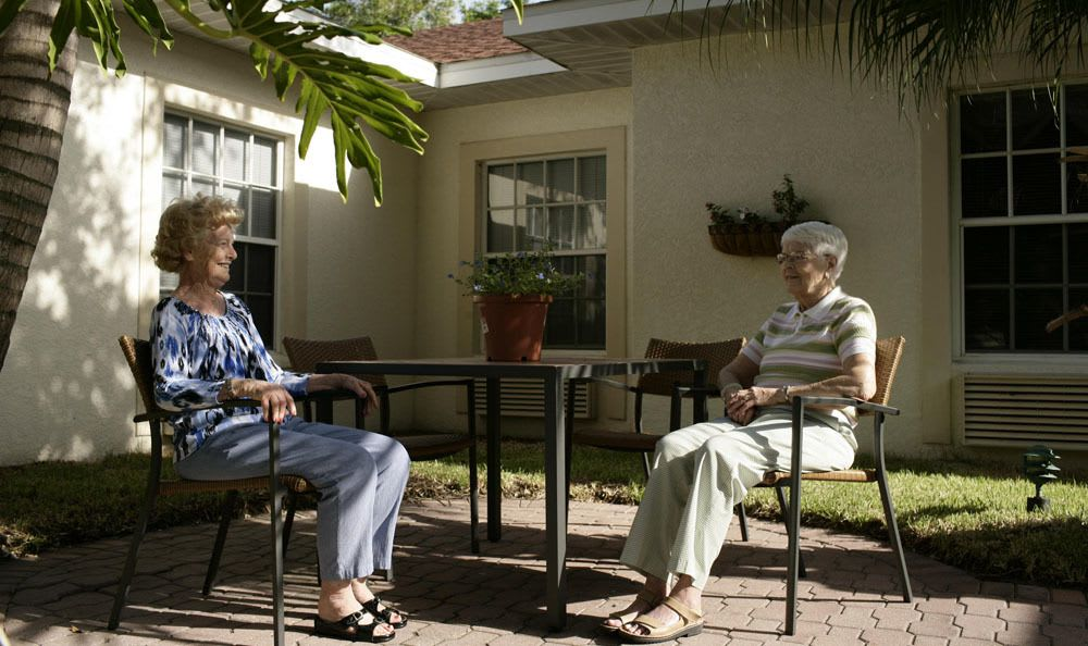 Hangout outside at our senior living facility in Naples