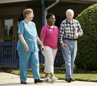 senior living residents enjoying a stroll in Sterling Heights