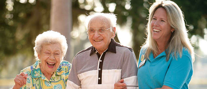 Happy smiling residents at Harbor Chase