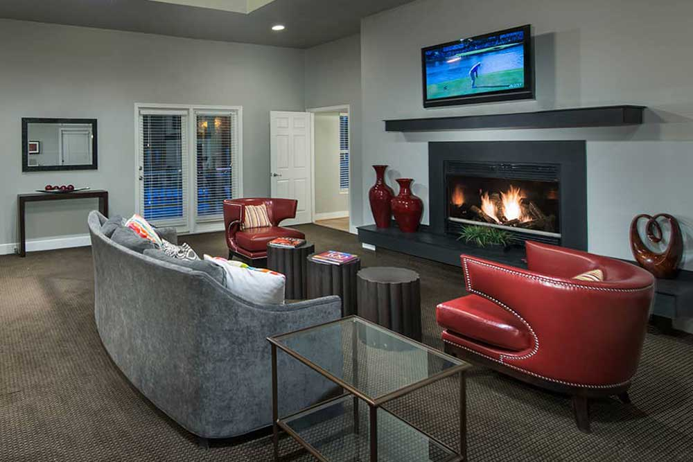 Watch some TV or enjoy the fire at The Douglas at Constant Friendship.