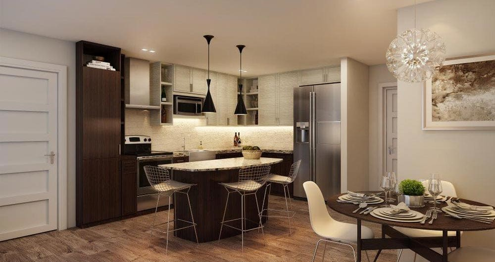 Model kitchen at 50 Paramount