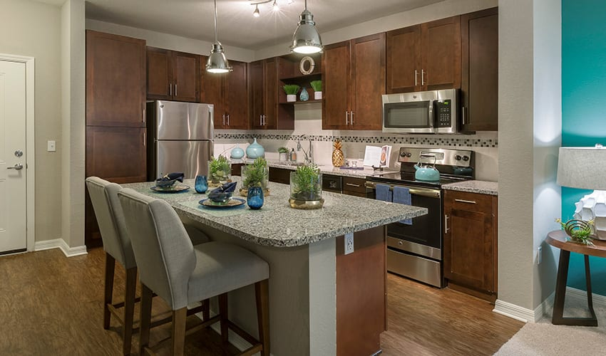 Luxury apartment kitchen at Integra River Run