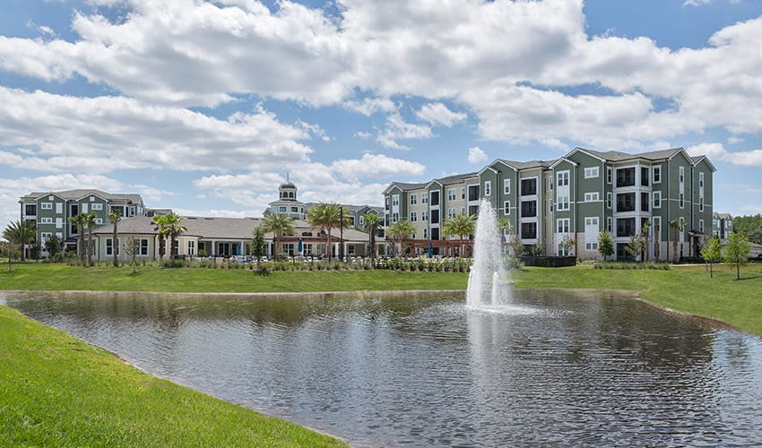 View of the lake at our luxury apartments in Jacksonville