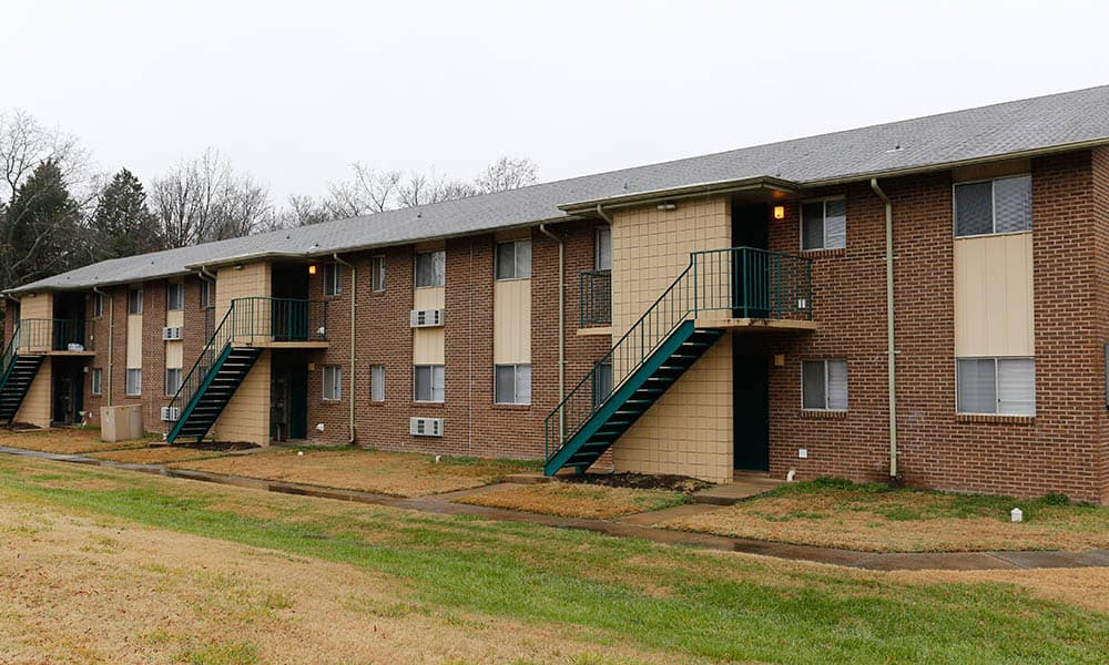 Exterior of our 2 story apartments at Pressley Ridge Apartments in Charlotte