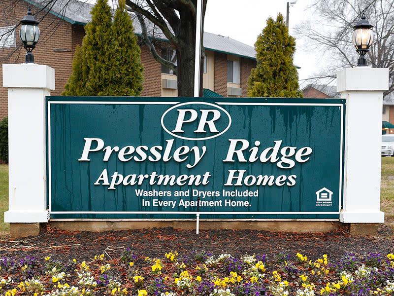 Signage for Pressley Ridge Apartments in Charlotte