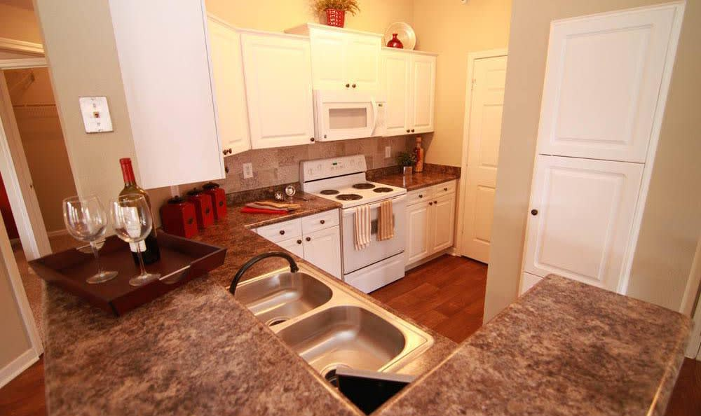 Stainless steel appliances at apartments in Overland Park