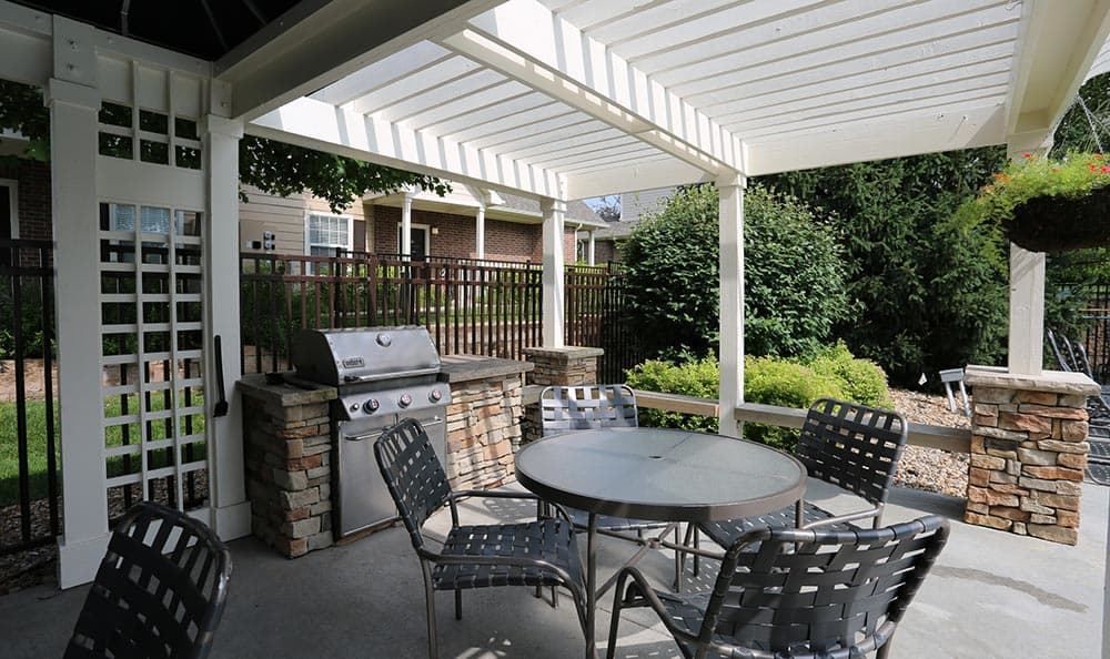 Patio at apartments in Overland Park