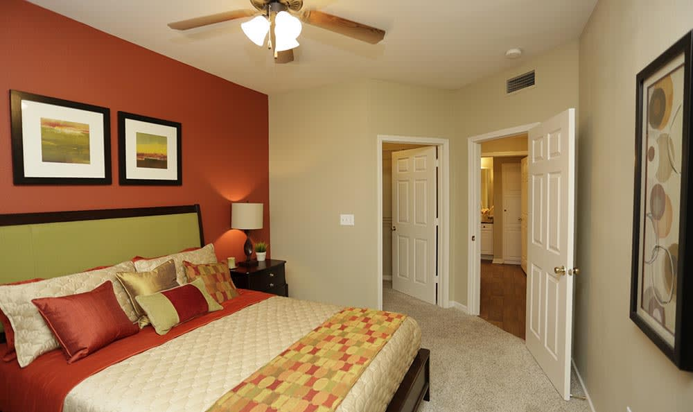Master bedroom at apartments in Overland Park
